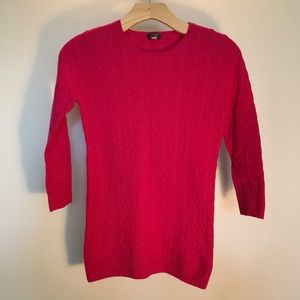 Women's XS J. Crew hot pink cashmere sweater
